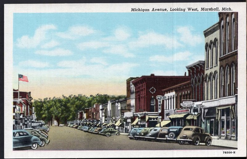 Michigan MARSHALL Michigan Ave looking West older cars and Store Fronts - LINEN