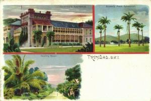 Trinidad B.W.I., Government Residence, Queens Park 1899 Litho Multiview Postcard