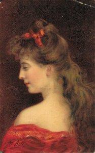 Artist Signed A.Asti Woman Red Dress 05.00