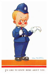 Vera Paterson Little Boy Dressed as Police Like to Know More 3741 Postcard S12
