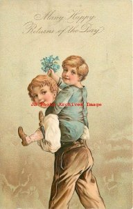 Many Happy Returns of the Day, PFB No 7095, Boy Carrying Younger Boy on Back