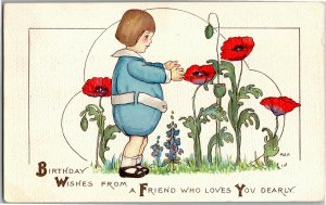 Birthday, Fat Little Boy in Blue with Poppies c1915 Margaret Price Postcard A02