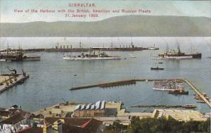 Gibraltar Harbour View With British American & Russian Fleets 1 January 1909