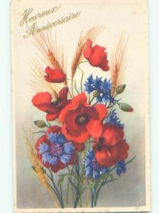 Very Old Foreign Postcard BEAUTIFUL FLOWERS SCENE AA4814