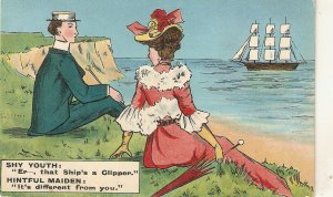 AShy Youth and a Hintful Maiden Humorous vintage English postcard