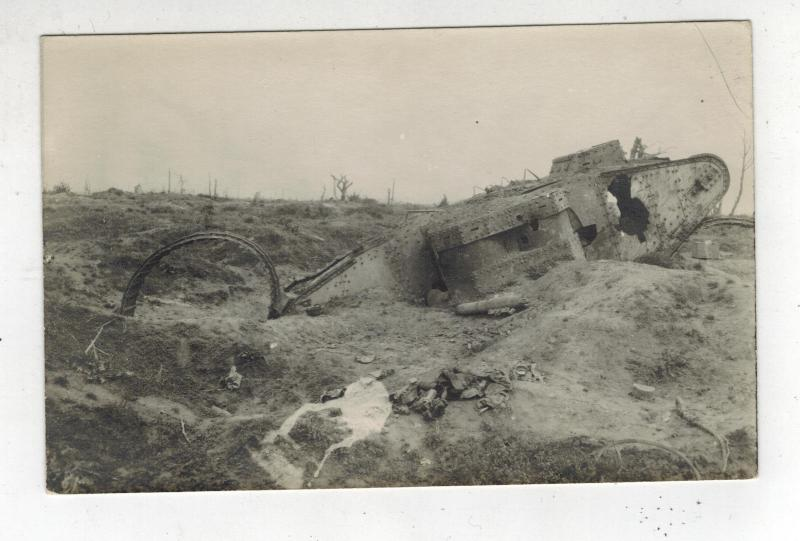 Mint WW1 England British Tank Destroyed on Battlefiel RPPC real picture Postcard