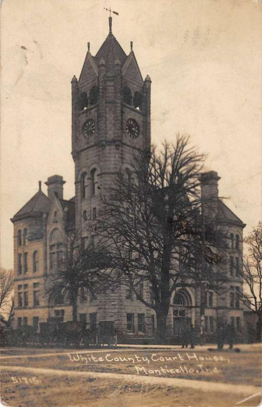 Monticello Indiana White Court House Real Photo Antique Postcard K101425