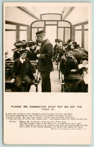 RPPC Stowaway Little Boy Pleads With Train Conductor~My Mom is Dying Soon~c1915