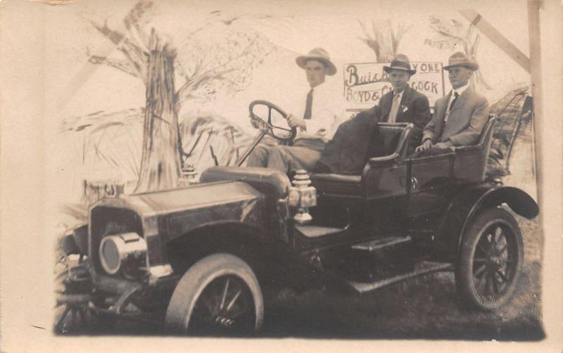 Real Photo Postcard~Men in Buick Automobile~Buy One Boyd & ?Cock~1914 RPPC