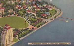 Florida Jacksonville Memorial Park And The Saint Johns River 1954