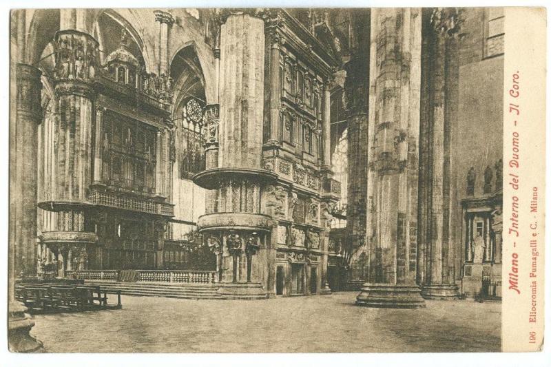 Italy, Milano, Interno del Duomo, Il Coro, early 1900s unused Postcard