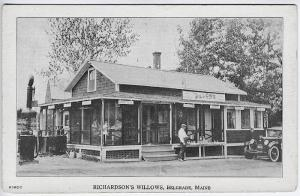 Belgrade ME Richardson's Willows Restaurant Gas Station Old Car Postcard