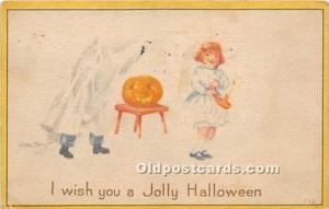Halloween Postcard Old Vintage Post Card Ghost 1920