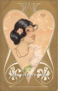 Artist Raphael Kirchner Old Vintage Postcard B.K.W.I 535 VI Writing on back