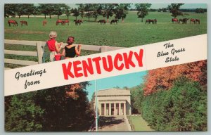 Kentucky~Greeting Card Horse Pasture & Lincoln Memorial~Vintage PC