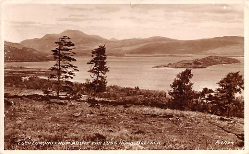 Balloch Scotland, UK Postcard Loch Lomond from above the Luss Road Balloch