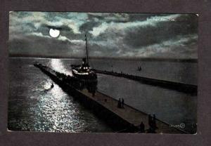 ON Vintage Moonlight ship Bay HAMILTON Ontario Canada Postcard Carte Postale