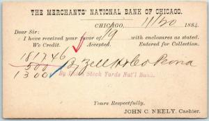 1884 Vintage Bank Postcard MERCHANTS' NATIONAL BANK OF CHICAGO Receipt Card