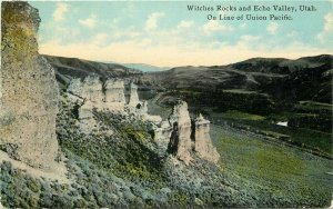 Barkalow C-1910 Echo Valley Utah Witches Rocks Postcard Railroad 8456