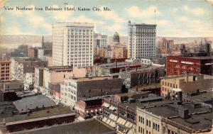 Kansas City Missouri~Northeast Downtown View From Baltimore Hotel~1910 Postcard