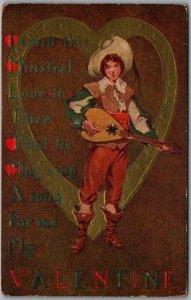 1910s VALENTINE'S DAY Postcard I Send this Minstrel; Love to Thee… Mandolin