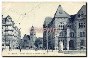 Old Postcard Metz L & # 39Hotel Des Postes Et La Gare