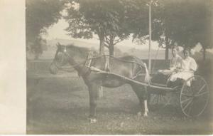 Young Boy & Girl w/ Horse & Carriage Buggy Wagon ~ Real Photo RPPC Postcard