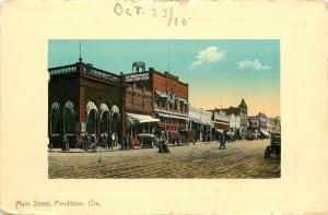 Pendleton Oregon~Main Street~People's Warehouse~Elephant on Roof~Ladies~1910