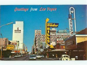 Fremont Street Las Vegas Nevada Trader Bills Queens Hotel  Postcard # 7207