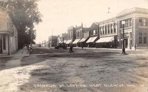 Glencoe Minnesota~Franklin Street~Bank Across From Pool Hall~EAT~1920 RPPC