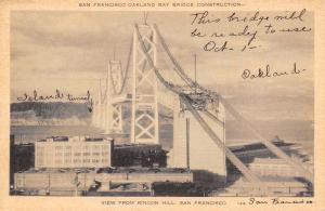 San Francisco Oakland Bay Bridge Under Construction~Rincon Hill~Ready Oct 1~1937