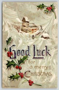 Christmas~Large Letter Good Luck on Swirling Snow~Home in Storm~1909 F Beuthien
