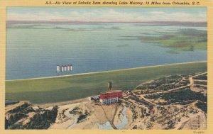 SOUTH CAROLINA, 30-40s; Air View of Saluda Dam showing Lake Murray