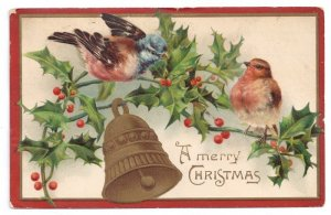 Christmas Birds on Holly Bough Bell Lightly Embossed 910 German Litho Postcard