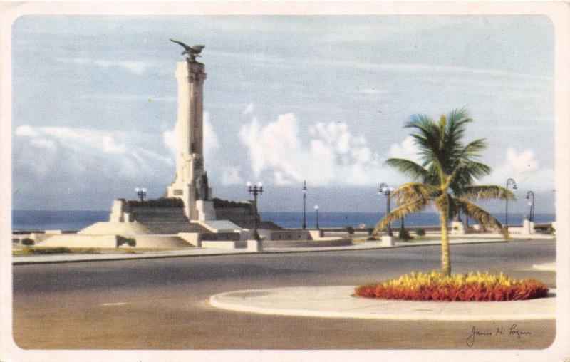 HAVANA CUBA~USS MAINE MONUMENT~VEDADO SUBURB~CHICAGO SOUTHERN AIR LINES POSTCARD