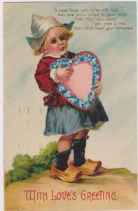 Love's Greeting, VALENTINE Poem, Dutch boy, big heart, blue flowers, PU-1908