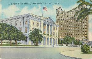Linen Card of Post Office & Hamilton Hotel Laredo Texas TX