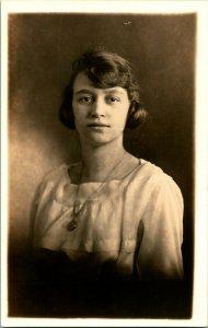Vtg Postcard RPPC 1920s Portrait of a Young Woman Studio View Unused