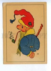 201833 GERMANY Smoking Gnome by INI vintage postcard
