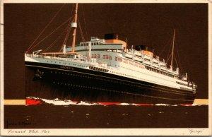 Cunard White Star GEORGIC artist signed JAMES MANN~ POSTCARD ~bombed WWII 1941