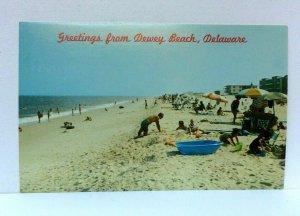 Dewey Beach Delaware Surf & Bathing Beach Postcard