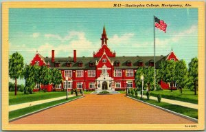 1940s Montgomery, Alabama Postcard HUNTINGDON COLLEGE Main Building View Linen