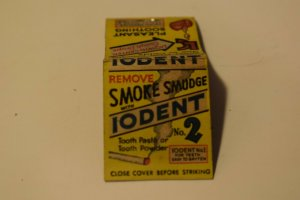 Remove Smoke Smudge with Iodent No. 2 Advertising 20 Strike Matchbook Cover