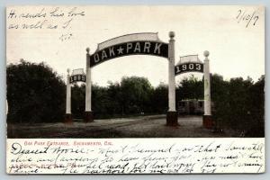 Sacramento California~Oak Amusement Park Entrance Arches~Trolleys Wait~1907