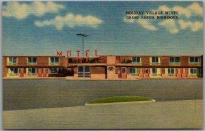 1940s GRAND RAPIDS, Minnesota Postcard HOLIDAY VILLAGE MOTEL Roadside Linen