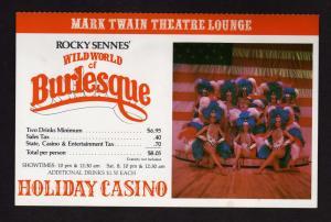 NV Holiday Casino Rocky Sennes Wild Burlesque World Las Vegas Nevada Postcard