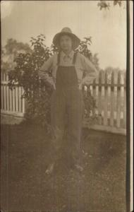 Gender Bending Cross Dressing - Woman in Overalls & Farmer Hat c1910 RPPC