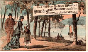VICTORIAN TRADE CARD, WHITE SEWING MACHINE.