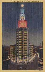 New York Buffalo Electric Building At Night Curteich