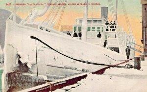 JUNEAU ALASKA~STEAMER SANTA CLARA AS SHE APPEARS IN WINTER POSTCARD